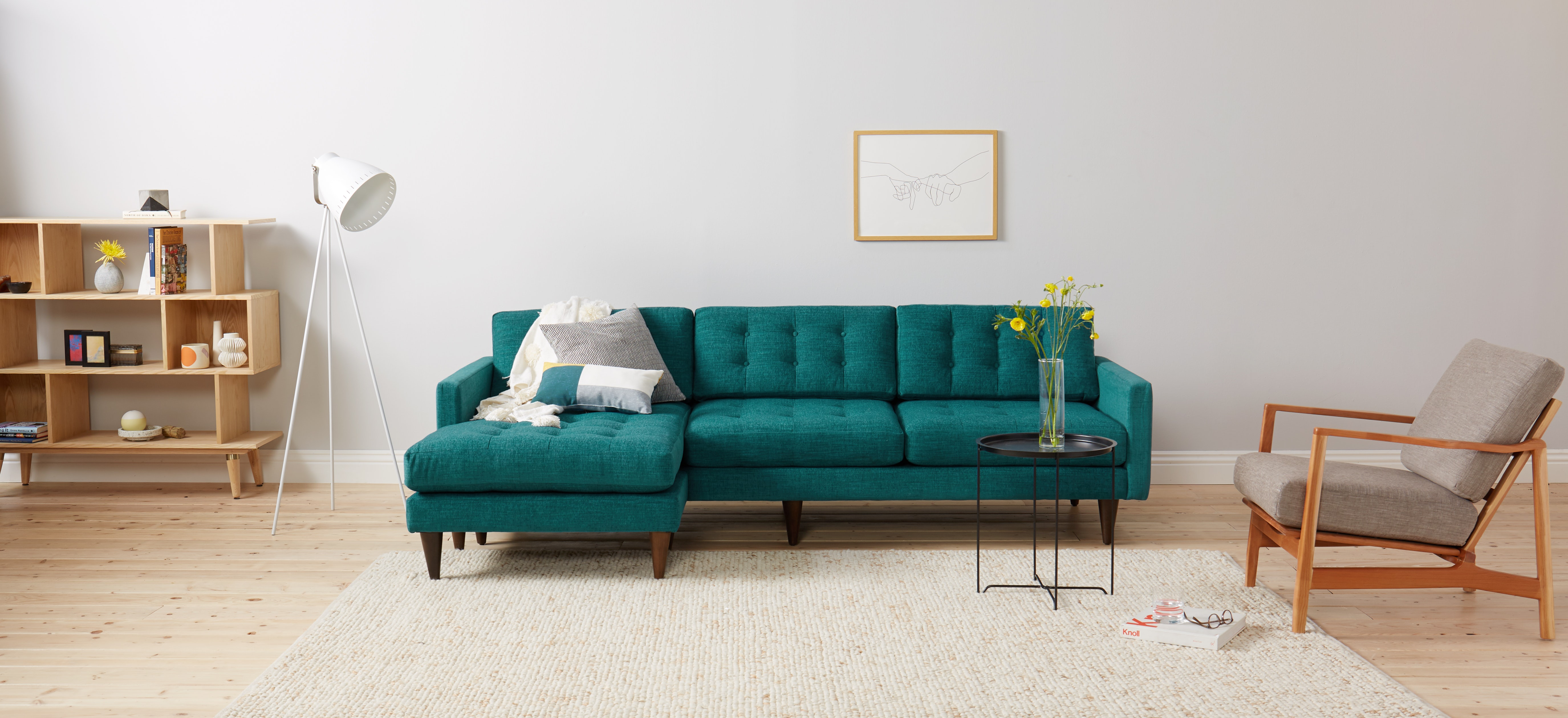 Eliot Sectional Lucky Turquoise