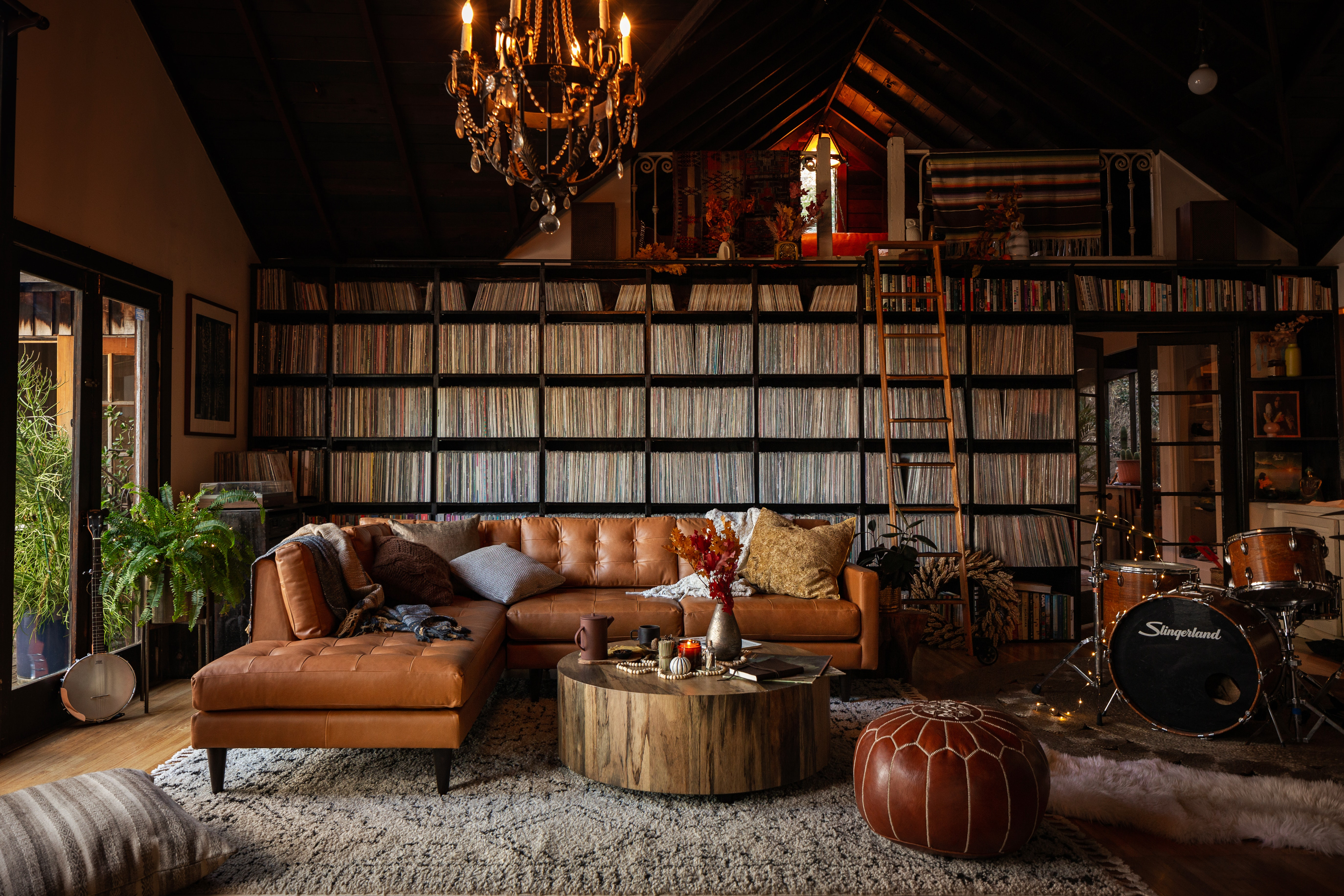 Holiday Record Room Eliot Leather Sectional Santiago Camel