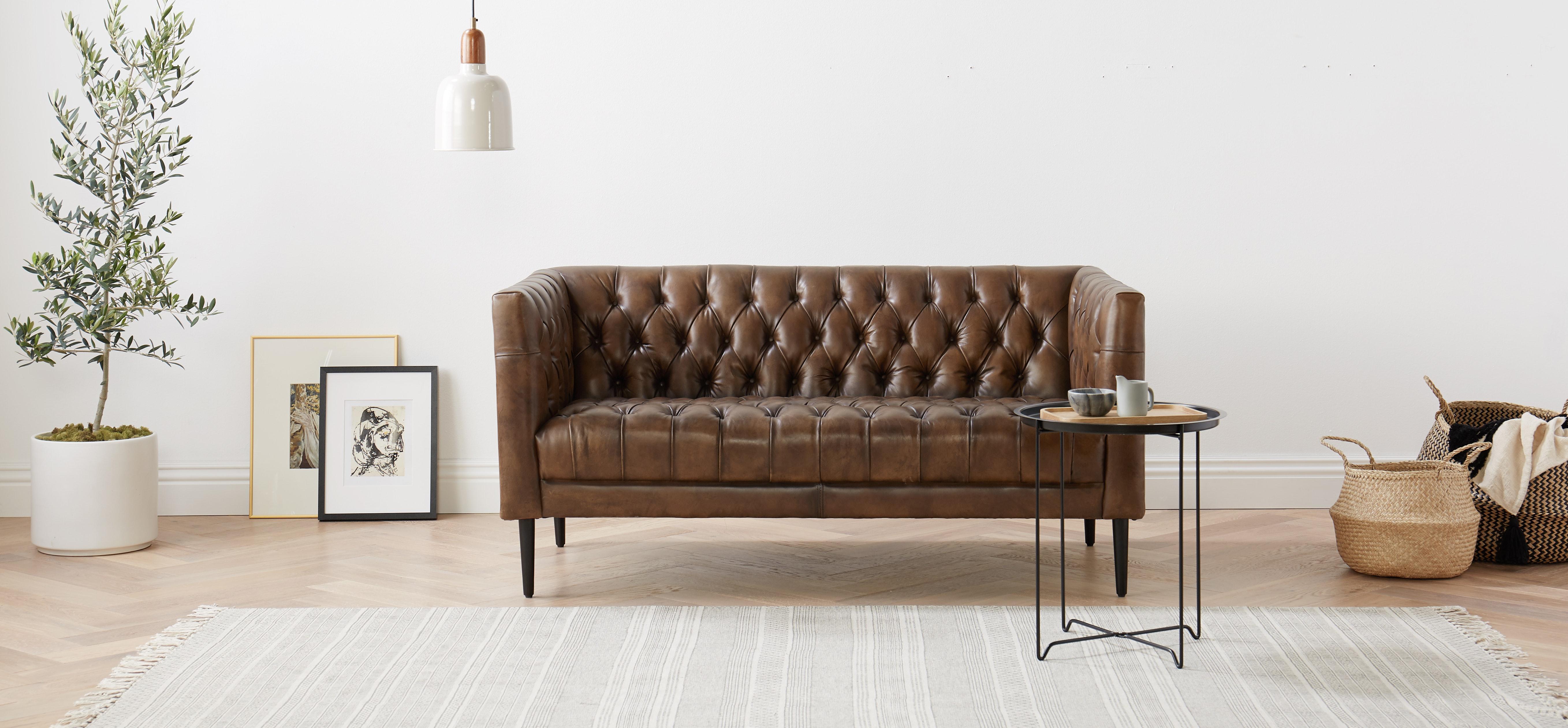 Vaughn Leather Apartment Sofa Palermo Coffee